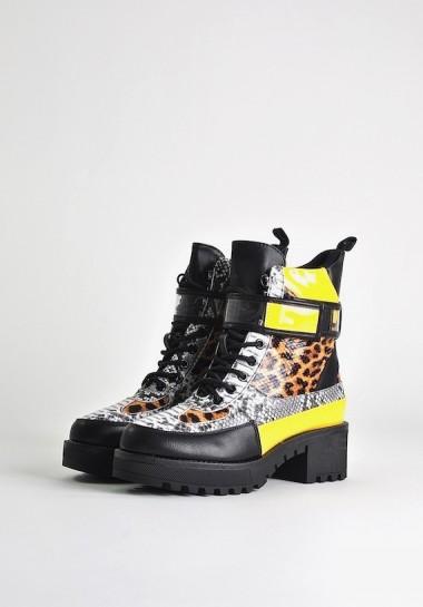 Buty zimowe damskie w panterkę