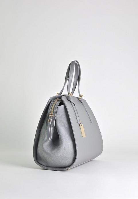 Szara stylowa torebka skórzana kuferek do ręki