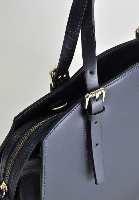 Granatowa torebka damska kuferek skórzany Laura