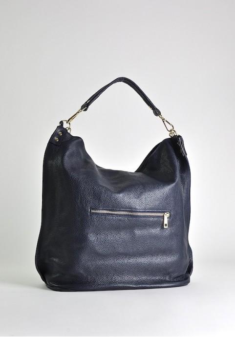 Granatowa torba damska ze skóry naturalnej