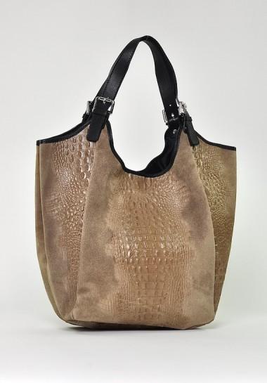 Beżowa torba skórzana worek...