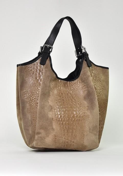 Beżowa torba skórzana worek na ramię