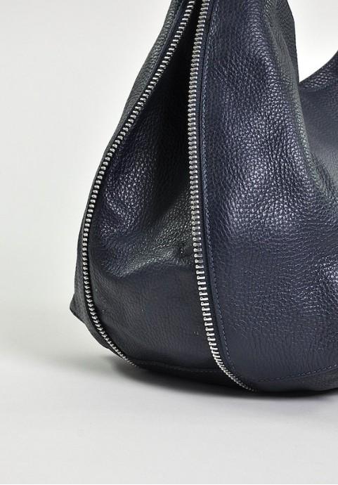 Granatowa modna torba damska ze skóry do ręki