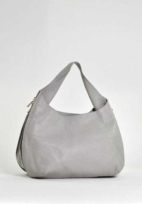 Skórzana torba damska xxl na ramię szara