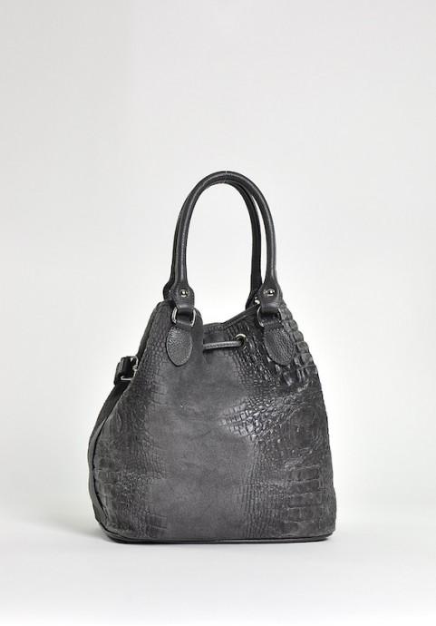 Szara torebka damska ze skóry na ramię