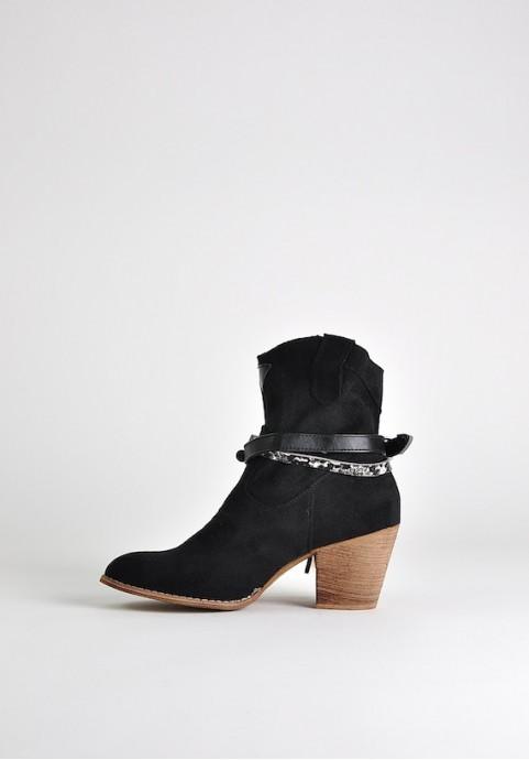 Czarne botki kowbojki