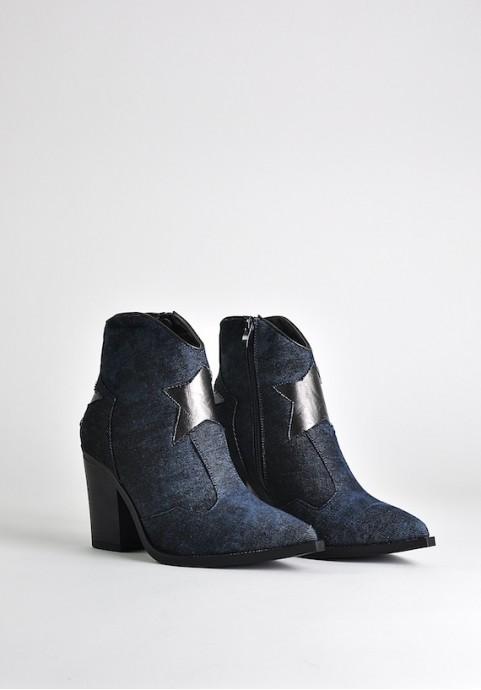 Jeansowe botki na obcasie