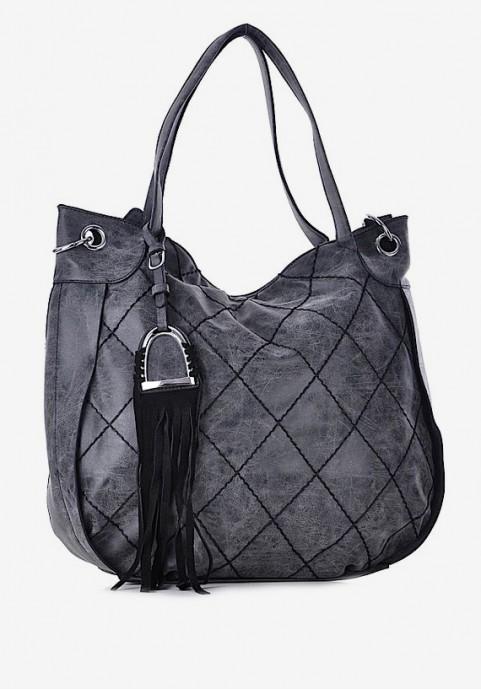 torebka damska czarna z frędzlami