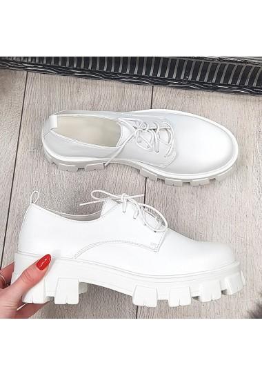 Białe sznurowane botki na...