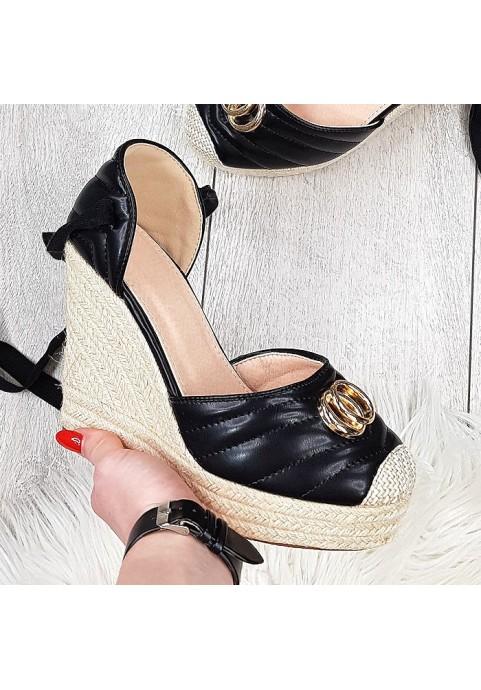 Czarne koturny sandały espadryle wiązane na kostkę Coco
