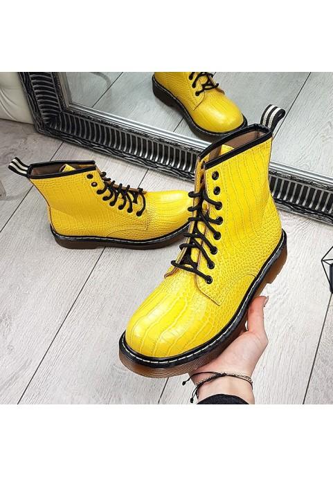 Wężowe martensy za kostkę w żółtym kolorze
