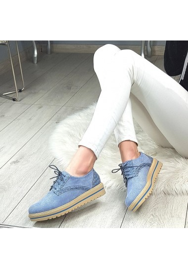 Błękitne sznurowane botki przed kostkę