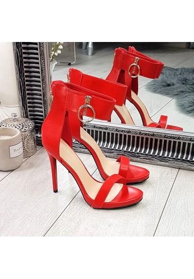 Czerwone kobiece sandałki na szpilce