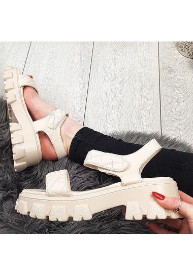 Sportowe beżowe sandały na rzepę