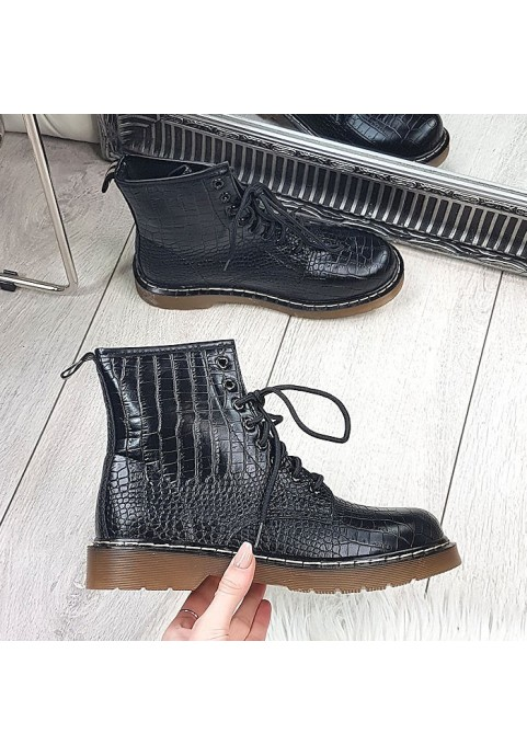 Czarne garbowane botki za kostkę