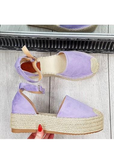 Fioletowe zamszowe sandały na platformie