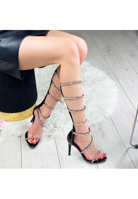 Cyrkoniowe sandały na szpilce