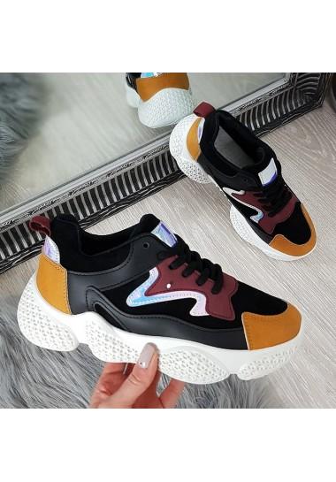 Czarne adidasy w kolorowe wstawki