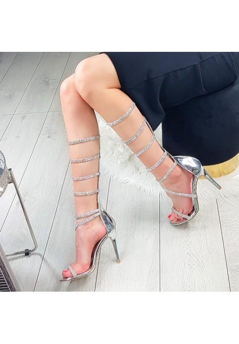 Srebrne cyrkoniowe sandały na szpilce