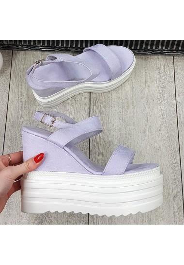 Zamszowe lawendowe sandały...