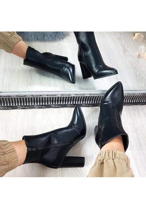 Eleganckie czarne botki na obcasie