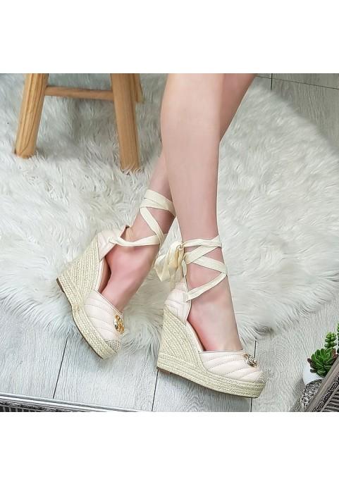Beżowe koturny sandały espadryle wiązane na kostkę Coco