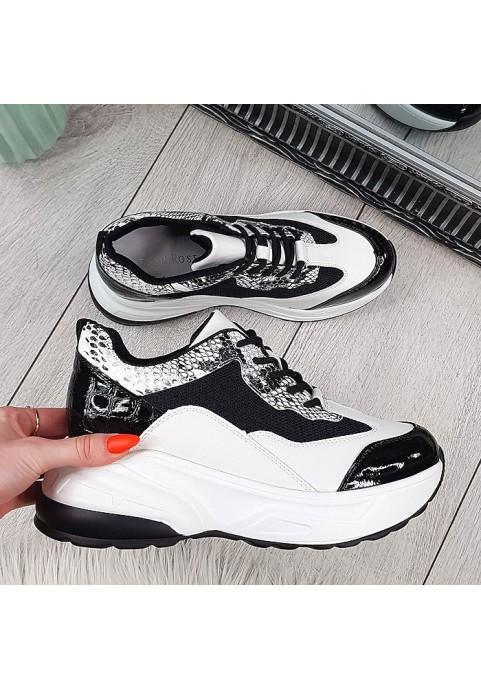 Czarno białe adidasy lakierowany nosek