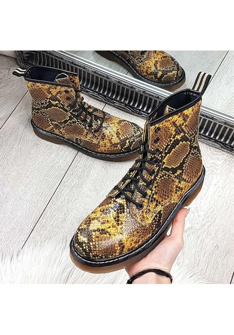 Żółte wężowe botki a'la martensy