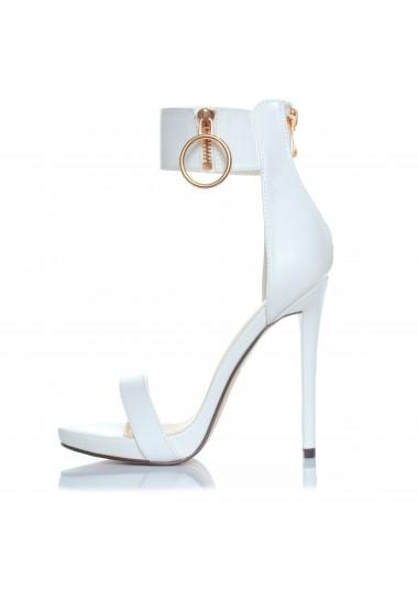 Białe sandały na szpilce
