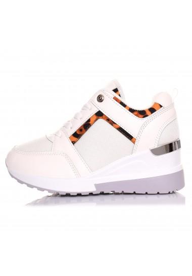 Adidasy na koturnie białe z panterką