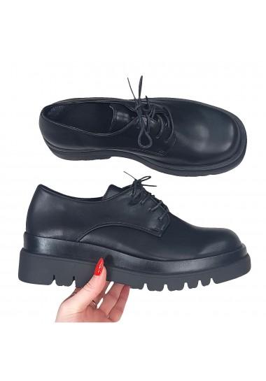 Czarne sznurowane botki na...