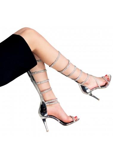 Srebrne cyrkoniowe sandały...