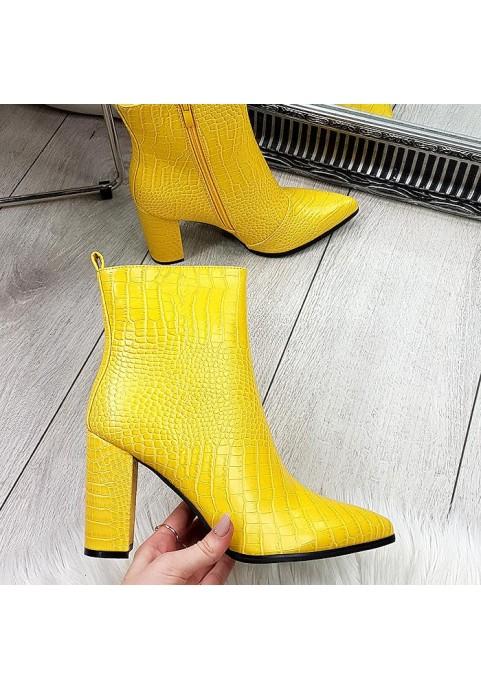 Eleganckie żółte botki na obcasie
