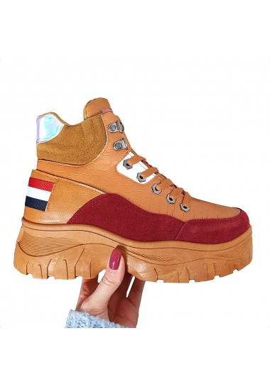 Sneakersy camelowo bordowe...