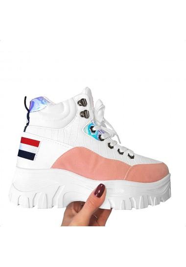 Sneakersy biało rożowe na...
