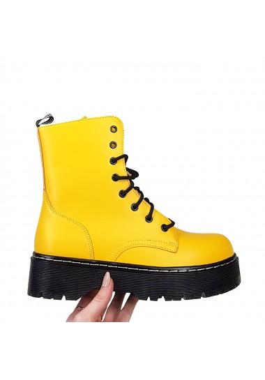 Żółte matowe wysokie botki...