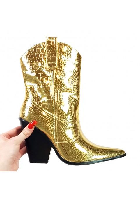 Złote metaliczne wsuwane kowbojki