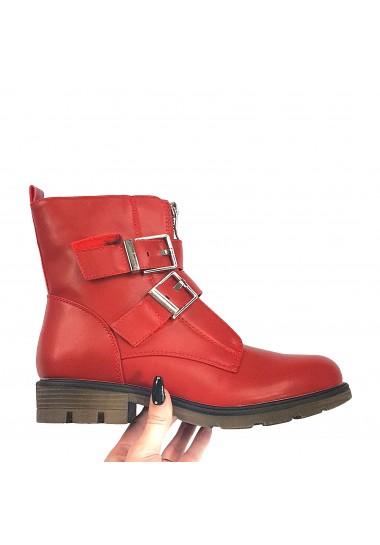 Czerwone botki damskie zimowe
