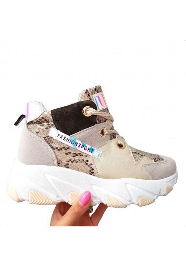 Kolorowe sneakersy beżowe...