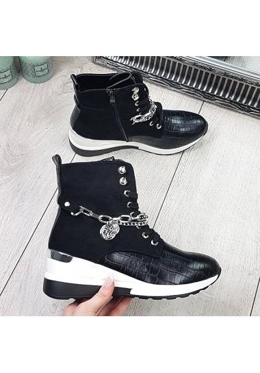 Czarne sneakersy za kostkę...