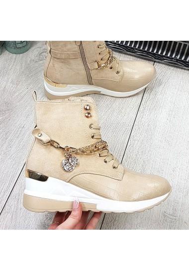 Beżowe sneakersy za kostkę...