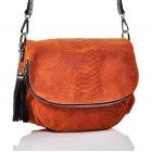 Zamszowa torebka listonoszka pomarańczowa