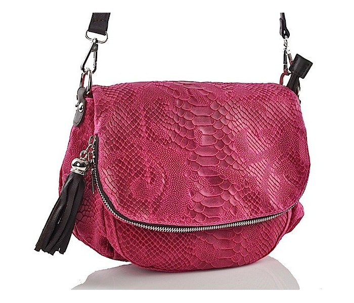 9bb0619d6c83c Różowa torebka skórzana listonoszka