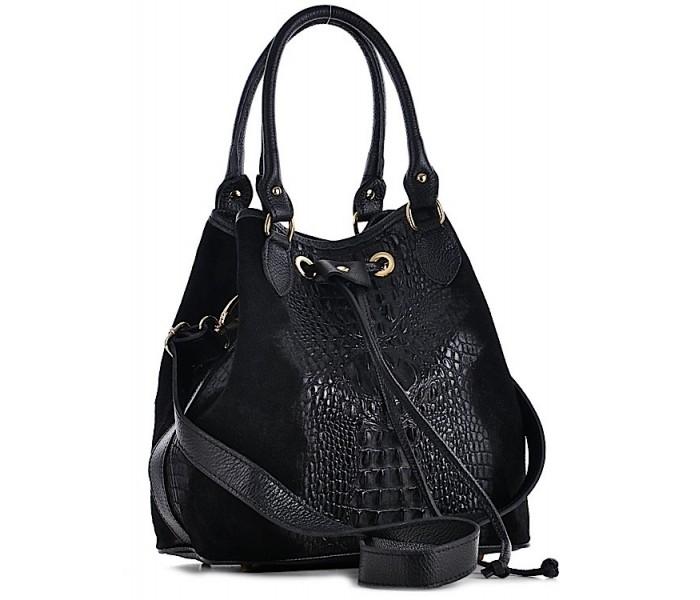 31eded905efcb Czarna skórzana torebka damska na ramię