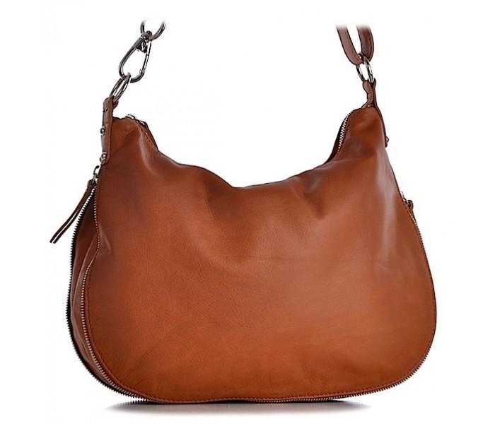 3bc5ef2145721 Brązowa torebka skórzana na ramię włoska Valeria
