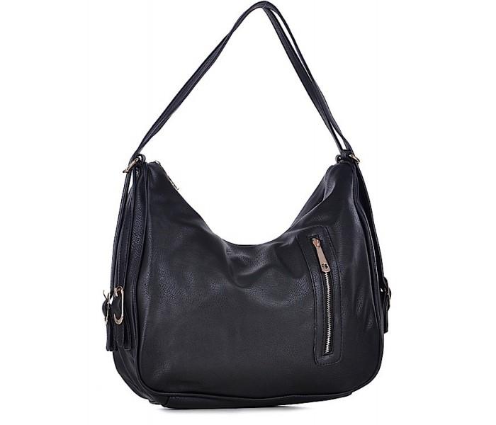 7517f06d57172 Torebka damska plecak czarna ze skóry ekologicznej