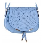 Niebieska torebka damska listonoszka na długim pasku