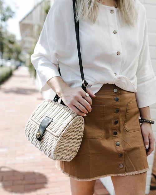 modna torebka damska pleciona koszyczek na ramię