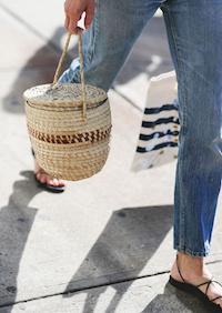 okrągła torebka plażowa