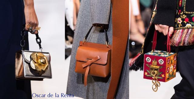 torebki skórzane z pokazu mody Oscara de la Renty na sezon jesień zima 2019